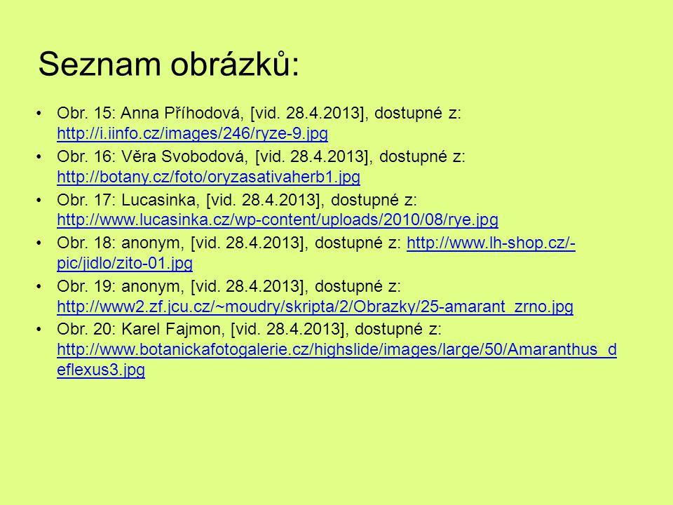 Seznam obrázků: Obr. 15: Anna Příhodová, [vid. 28.4.2013], dostupné z: http://i.iinfo.cz/images/246/ryze-9.jpg.